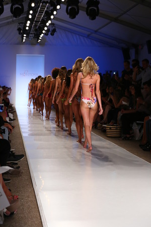 finale: MIAMI - JULY 21: Models walk runway finale at Liliana Montoya Swim collection during MBFW Miami Swim at Cabana Grande on July 21, 2014 in Miami Beach Florida