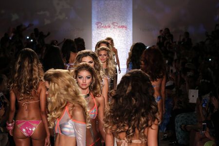 MIAMI - JULY 18: Models walks runway finale at Beach Bunny Swim collection during MBFW Miami Swim at Cabana Grande on July 18, 2014 in Miami Beach Florida