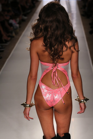 lacey: MIAMI - JULY 18: Model Lacey Nelson walks runway at Beach Bunny Swim collection during MBFW Miami Swim at Cabana Grande on July 18, 2014 in Miami Beach Florida   Editorial