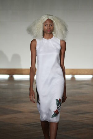 NEW YORK - SEPTEMBER 03: A model walks runway for Victor de Souza Spring Summer 2015 presentation during New York Fashion Week on September 03, 2014 in NYC.