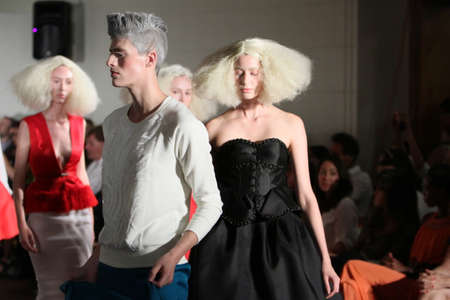 avantgarde: NEW YORK - SEPTEMBER 03: Models walk runway finale for Victor de Souza Spring Summer 2015 presentation during New York Fashion Week on September 03, 2014 in NYC.