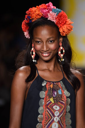 NEW YORK, NY - SEPTEMBER 04: A model walks the runway at Desigual during Mercedes-Benz Fashion Week Spring 2015 on September 4, 2014 in New York City. Editorial