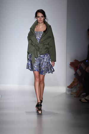 anorak:    NEW YORK, NY - SEPTEMBER 04: A model walks the runway at the Marissa Webb fashion show during Mercedes-Benz Fashion Week Spring 2015 on September 4, 2014 in New York City.