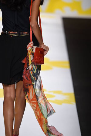 NEW YORK, NY - SEPTEMBER 04: A model walks the runway at Desigual during Mercedes-Benz Fashion Week Spring 2015 on September 4, 2014 in New York City. Editöryel