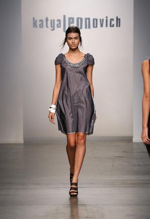 gunmetal: NEW YORK - SEPTEMBER 06: A Model walks runway for Katya Leonovich Spring Summer 2015 fashion show at  during New York Fashion Week on September 06, 2014 in NYC.  Editorial