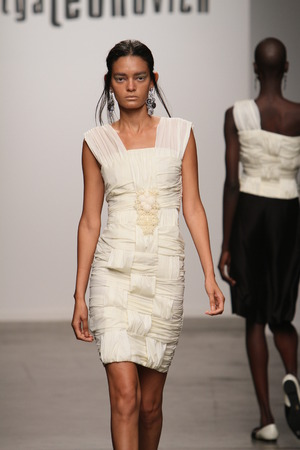 NEW YORK - SEPTEMBER 06: A Model walks runway for Katya Leonovich Spring Summer 2015 fashion show at  during New York Fashion Week on September 06, 2014 in NYC.