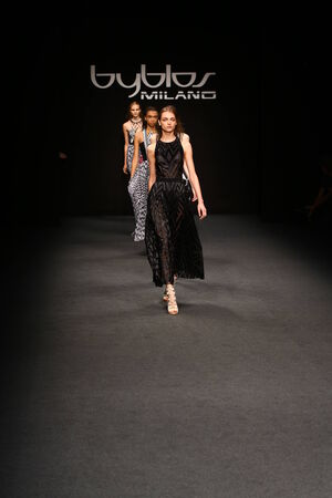 MILAN, ITALY - SEPTEMBER 17: Models walk the runway finale during the Byblos show as a part of Milan Fashion Week Womenswear SpringSummer 2015 on September 17, 2014 in Milan, Italy.