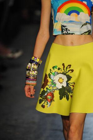 MILAN, ITALY - SEPTEMBER 18: A model walks the runway during the Leitmotiv show as a part of Milan Fashion Week Womenswear Spring 2015 on September 18, 2014 in Milan, Italy.  Stock Photo - 31917279