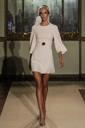 MILAN, ITALY - SEPTEMBER 20: A model walks the runway during the Elisabetta Franchi show as part of Milan Fashion Week Womenswear Spring- Summer 2015 on September 20, 2014 in Milan, Italy.