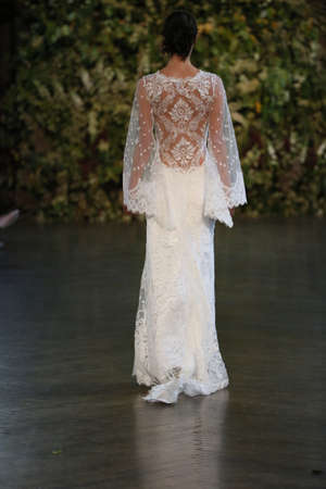 NEW YORK, NY - OCTOBER 10: A model walks the runway during the Claire Pettibone Fall 2015 Bridal Collection Show on October 10, 2014 in New York City.