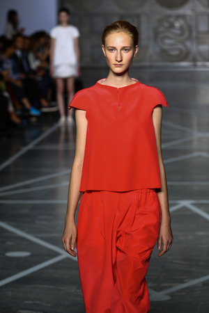 astral: MILAN, ITALY - SEPTEMBER 20: A model walks the runway during the Mila Schon show as part of Milan Fashion Week Womenswear Spring-Summer 2015 on September 20, 2014 in Milan, Italy.