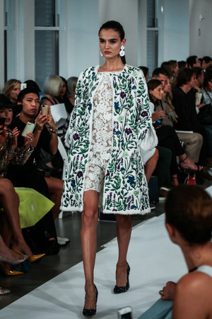 NEW YORK, NY - SEPTEMBER 09: A model walks the runway at the Oscar De La Renta fashion show during Mercedes-Benz Fashion Week Spring 2015 on September 9, 2014 in New York City.
