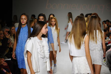 bonnie: NEW YORK, NY - OCTOBER 19: Models walk the runway finale during the Bonnie Young preview at petitePARADE Kids Fashion Week at Bathhouse Studios on October 19, 2014 in New York City.