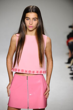 bonnie: NEW YORK, NY - OCTOBER 19: Celia Babini walks the runway during the Bonnie Young preview at petitePARADE Kids Fashion Week at Bathhouse Studios on October 19, 2014 in New York City. Editorial