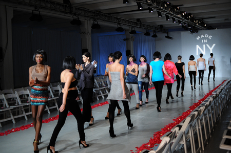 NEW YORK, NY - OCTOBER 25: Models walk runway rehearsal during Made in the USA Spring 2015 lingerie showcase preparations at the Center 548 on October 25, 2014 in New York City. Editorial