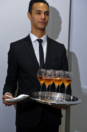 banquet facilities: NEW YORK, NY - OCTOBER 13: Champagne was served at the Carolina Herrera Bridal Presentation during Fall 2015 Bridal Collection on October 13, 2014 in New York City. Editorial