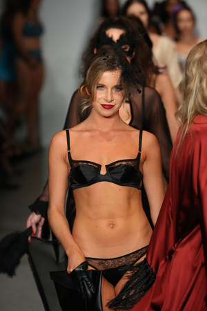 finale: NEW YORK, NY - OCTOBER 25: Models walk runway at Finale Runway Show during Lingerie Fashion week closing benefit Spring 2015 collections at the Center 548 on October 25, 2014 in New York City. Editorial