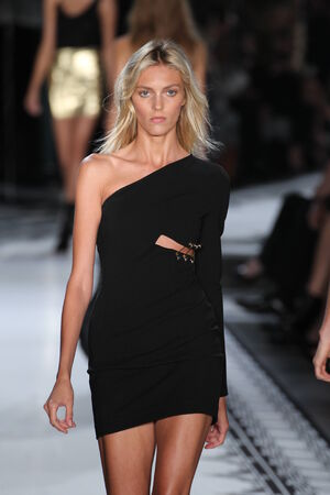 NEW YORK, NY - SEPTEMBER 07: Model Anja Rubik walks the runway at the Versus Versace Spring 2015 Collection during Mercedes-Benz Fashion Week at Metropolitan West on September 7, 2014 in New York City. Editorial