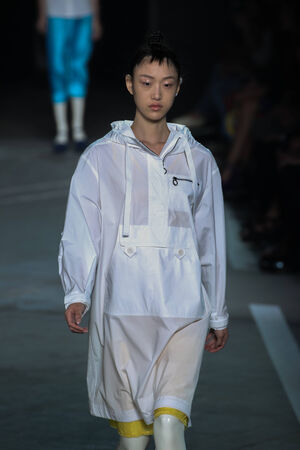 marc: NEW YORK, NY - SEPTEMBER 09: Model So Ra Choi walks the runway at the Marc By Marc Jacobs fashion show during Mercedes-Benz Fashion Week Spring 2015 at Pier 94 on September 9, 2014 in NYC.