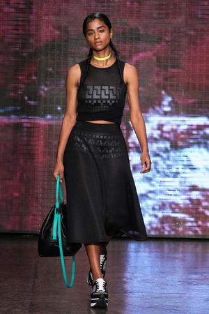 NEW YORK, NY - SEPTEMBER 07: Model Vashtie Kola walk the runway at DKNY during Mercedes-Benz Fashion Week Spring 2015 at 547 West 26th Street on September 7, 2014 in NYC.