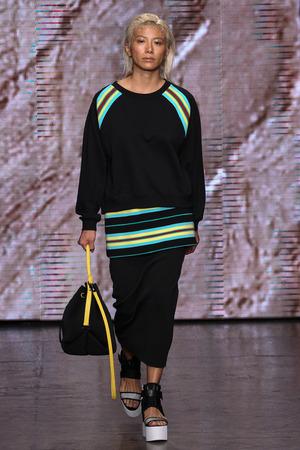 NEW YORK, NY - SEPTEMBER 07: A model walks the runway at DKNY during Mercedes-Benz Fashion Week Spring 2015 at 547 West 26th Street on September 7, 2014 in NYC.