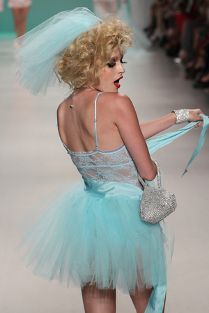 light blue lingerie: NEW YORK, NY - SEPTEMBER 10: A model walks the runway at Betsey Johnson during Mercedes-Benz Fashion Week Spring 2015 at Lincoln Center on September 10, 2014 in NYC