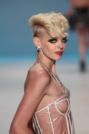 shemale: NEW YORK, NY - SEPTEMBER 10: A model walks the runway at Betsey Johnson during Mercedes-Benz Fashion Week Spring 2015 at The Salon at Lincoln Center on September 10, 2014 in NYC Editorial