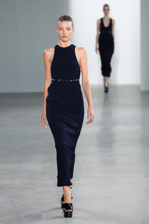 bare waist: NEW YORK, NY - SEPTEMBER 11: Model Elena Peter walk the runway at the Calvin Klein Collection fashion show during MBFW Spring 2015 at Spring Studios on September 11, 2014 in NYC.