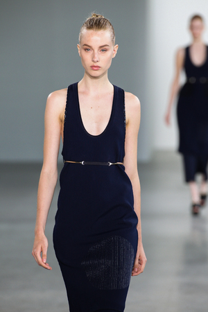 bare waist: NEW YORK, NY - SEPTEMBER 11: Model Jo Molenaar walk the runway at the Calvin Klein Collection fashion show during MBFW Spring 2015 at Spring Studios on September 11, 2014 in NYC.