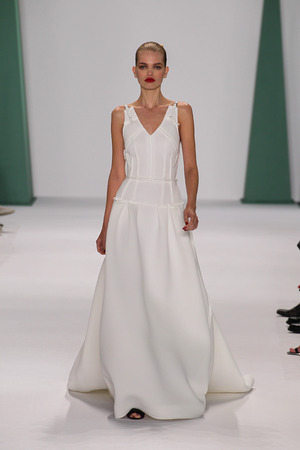 daphne: NEW YORK, NY - SEPTEMBER 08: Model Daphne Groeneveld walk the runway at the Carolina Herrera fashion show during MBFW Spring 2015 at The Theatre at Lincoln Center on September 8, 2014 in NYC. Editorial