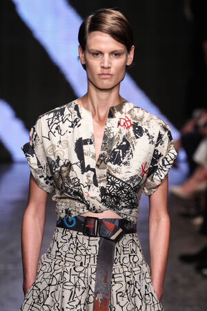 NEW YORK, NY - SEPTEMBER 08: Model walk the runway at Donna Karan New York during MBFW Spring 2015 at 547 West 26th Street on September 8, 2014 in NYC