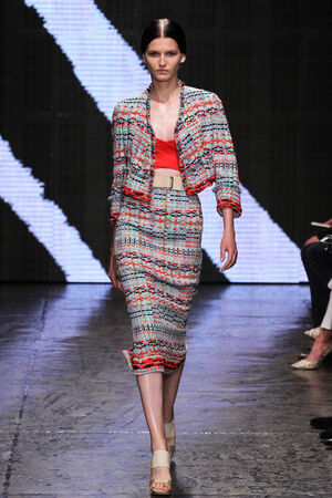 aas: NEW YORK, NY - SEPTEMBER 08: Model Katlin Aas walk the runway at Donna Karan New York during MBFW Spring 2015 at 547 West 26th Street on September 8, 2014 in NYC