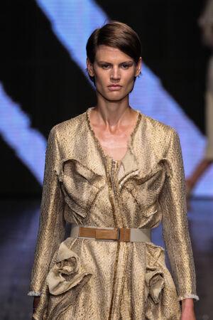 NEW YORK, NY - SEPTEMBER 08: Model Saskia de Brauw walk the runway at Donna Karan New York during MBFW Spring 2015 at 547 West 26th Street on September 8, 2014 in NYC