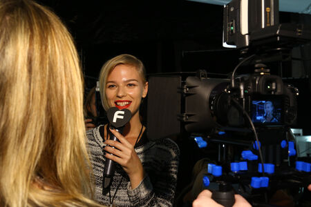 NEW YORK, NY - SEPTEMBER 05: A model giving interview backstage at the Carmen Marc Valvo 25th Anniversary show during MBFW Spring 2015 at Lincoln Center on September 5, 2014 in NYC