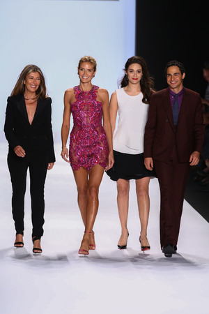 nina: NEW YORK, NY - SEPTEMBER 05: Nina Garcia, Heidi Klum, Emmy Rossum and Zac Posen greet the audience at Project Runway during MBFW Spring 2015 at Lincoln Center on September 5, 2014 in NYC Editorial