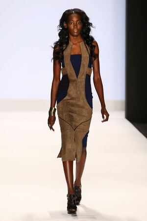 amanda: NEW YORK, NY - SEPTEMBER 05: A model walks the runway at the Project Runway (Amanda Valentine) show during MBFW Spring 2015 at Lincoln Center on September 5, 2014 in NYC
