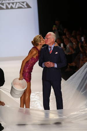 als: NEW YORK, NY - SEPTEMBER 05: Heidi Klum kiss Tim Gunn after ALS Ice Bucket Challenge at Project Runway during MBFW Spring 2015  on September 5, 2014 in NYC