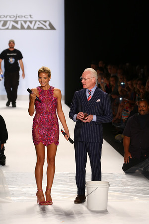 NEW YORK, NY - SEPTEMBER 05: Tim Gunns version of the ALS Ice Bucket Challenge at Project Runway during MBFW Spring 2015 at Lincoln Center on September 5, 2014 in NYC