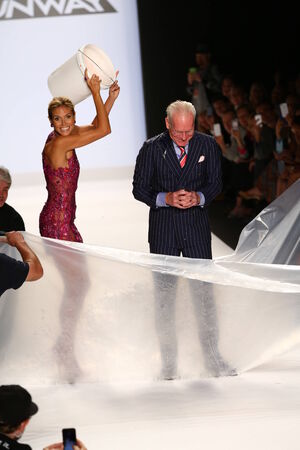 als: NEW YORK, NY - SEPTEMBER 05: Heidi Klum smiles at audience with Tim Gunn after ALS Ice Bucket Challenge at Project Runway during MBFW Spring 2015  on September 5, 2014 in NYC
