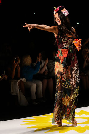 victoria secret: NEW YORK, NY - SEPTEMBER 04: Model Adriana Lima walks the runway at Desigual during Mercedes-Benz Fashion Week Spring 2015  at Lincoln Center on September 4, 2014 in NYC