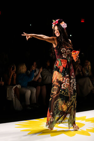 adriana: NEW YORK, NY - SEPTEMBER 04: Model Adriana Lima walks the runway at Desigual during Mercedes-Benz Fashion Week Spring 2015  at Lincoln Center on September 4, 2014 in NYC
