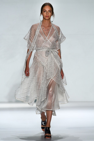 alma: NEW YORK, NY - SEPTEMBER 05: Model Alma Durand walk the runway at the Zimmermann fashion show during MBFW Spring 2015 at Lincoln Center on September 5, 2014 in NYC Editorial