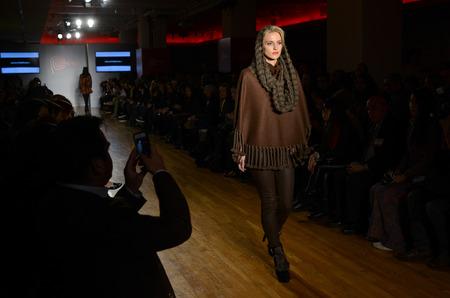 NEW YORK - NOVEMBER 19: A Model walks runway for Anntarah presentation at Metropolitan Pavilion 125W 18th Street during Peru Expo on November 19, 2014 in NYC.