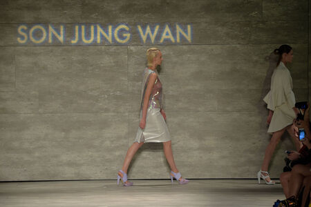 jung: NEW YORK, NY - SEPTEMBER 06: Models walk the runway at the Son Jung Wan fashion show during Mercedes-Benz Fashion Week Spring 2015 at Lincoln Center on September 6, 2014 in NYC Editorial