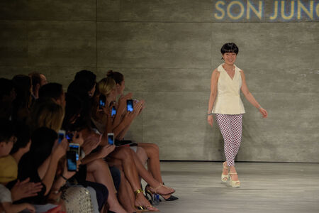NEW YORK, NY - SEPTEMBER 06: Designer Son Jung Wan walks the runway at the Son Jung Wan fashion show during Mercedes-Benz Fashion Week Spring 2015 at Lincoln Center on September 6, 2014 in NYC