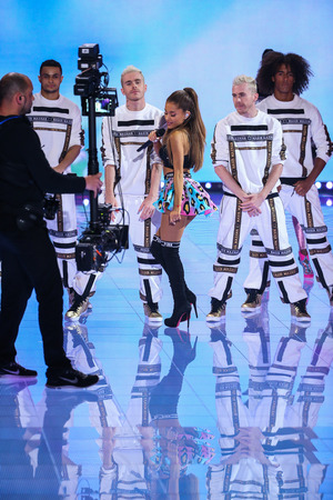 onstage: LONDON, ENGLAND - DECEMBER 02: Singer Ariana Grande performs onstage during the 2014 Victorias Secret Fashion Show on December 2, 2014 in London, England.