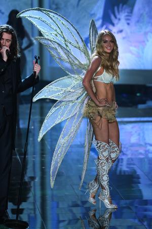 lindsay: LONDON, ENGLAND - DECEMBER 02: Victorias Secret model Lindsay Ellingson walks the runway during the 2014 Victorias Secret Fashion Show on December 2, 2014 in London, England. Editorial