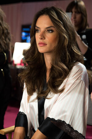 earls court: LONDON, ENGLAND - DECEMBER 02: Alessandra Ambrosio backstage at the annual Victorias Secret fashion show at Earls Court on December 2, 2014 in London, England.