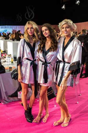 victorias secret show: LONDON, ENGLAND - DECEMBER 02: VS models pose backstage at the annual Victorias Secret fashion show at Earls Court on December 2, 2014 in London, England.