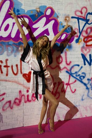 earls court: LONDON, ENGLAND - DECEMBER 02: Model Behati Prinsloo backstage at the annual Victorias Secret fashion show at Earls Court on December 2, 2014 in London, England. Editorial